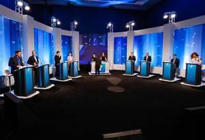 Disputa por lugar no 2º turno marca debate de candidatos a prefeito do Rio Foto: Gustavo Serebrenick/Brazil Photo Press