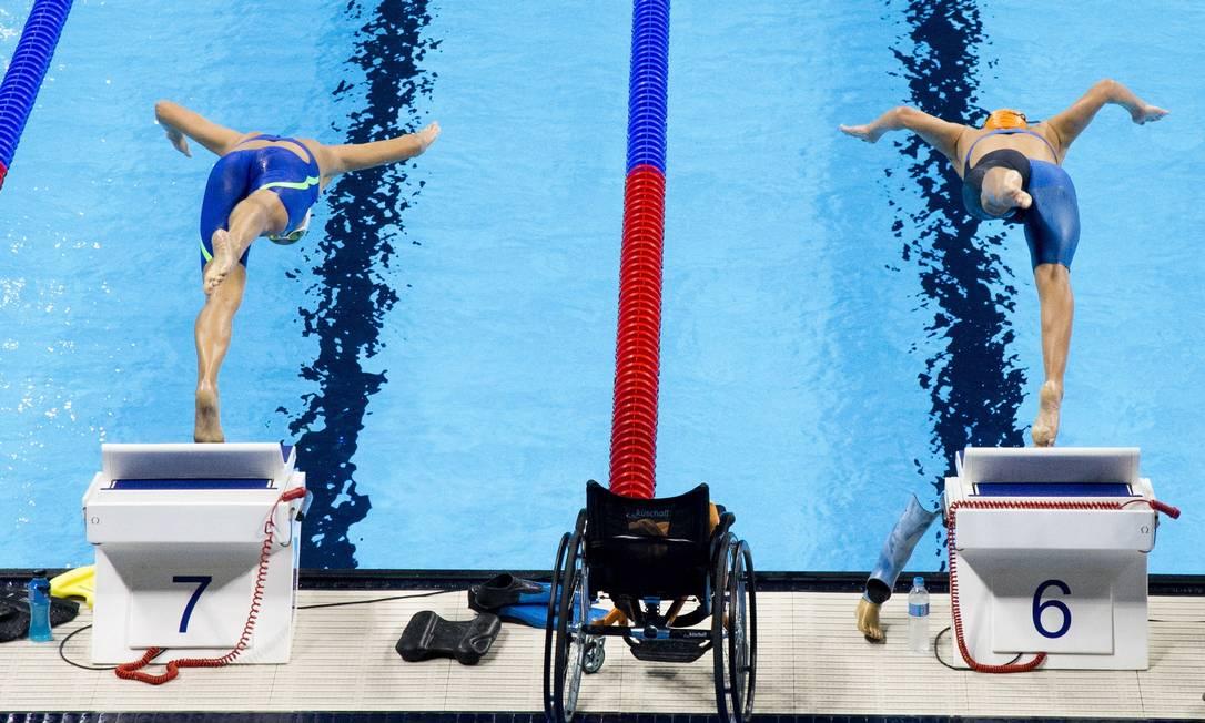 Treino de natação no Estádio Aquático do Parque Olímpico Monica Imbuzeiro / Agência O Globo
