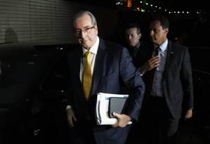 Chegada de Eduardo Cunha à sessão da Câmara que votou pela cassação de seu mandato como deputado federal Foto: Ailton de Freitas / Agência O Globo
