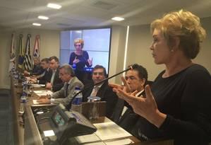 A candidata Marta Suplicy (PMDB), em evento de campanha na OAB-SP Foto: Reprodução / Twitter