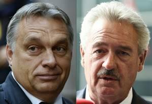 O primeiro-ministro húngaro Viktor Orban (dir), criticado pelo chanceler Jean Asselborn (esq) em entrevista Foto: THIERRY CHARLIER;JOHN THYS / AFP
