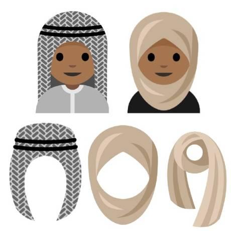 Rayouf Alhumedhi pede a criação de emojis femininos com véu e hijab, e um masculino com keffiyeh Foto: Reprodução / Scribd