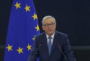 Juncker fez discurso duro admitindo divisões preocupantes na UE Foto: VINCENT KESSLER / REUTERS