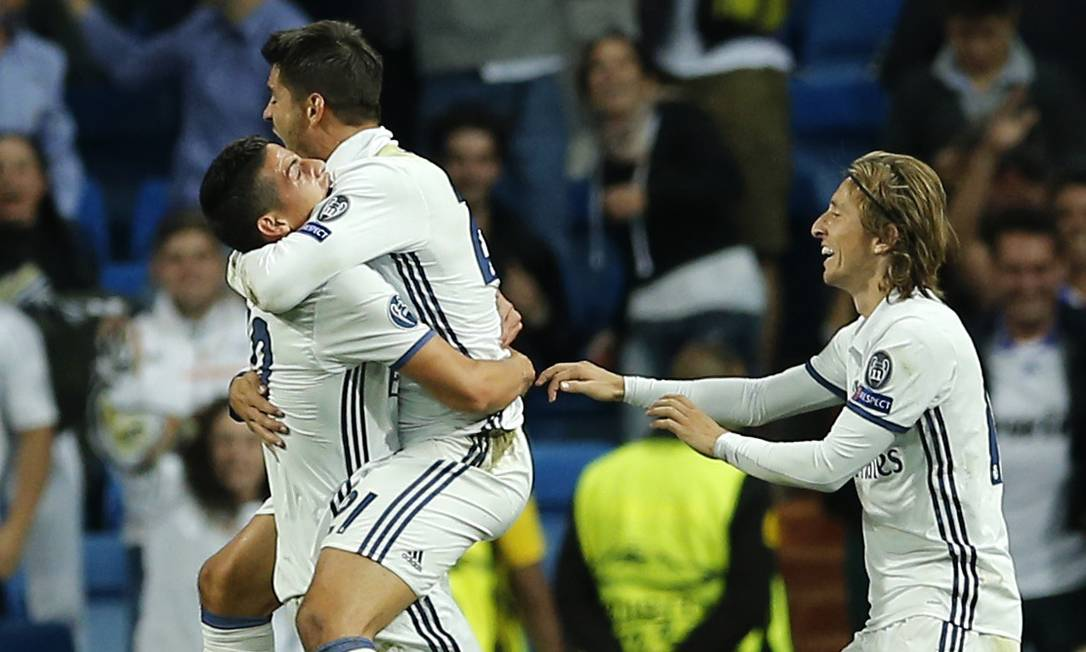 Festa do Real Madrid nos últimos cinco minutos: gol de Morata nos acréscimos, e 2 a 1 sobre o Sporting Paul White / AP