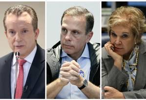 Os candidatos à prefeitura de São Paulo Celso Russomano (PRB), João Doria (PSDB) e Marta Suplicy (PMDB) Foto: Montagem sobre fotos de Pedro Kirilos, Jorge William e Edilson Dantas