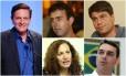 Os candidatos à prefeitura do Rio: Marcelo Crivella (PRB), Marcelo Freixo (PSOL), Pedro Paulo (PMDB), Flávio Bolsonaro (PSC) e Jandira Feghali (PCdoB)