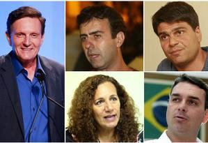 Os candidatos à prefeitura do Rio: Marcelo Crivella (PRB), Marcelo Freixo (PSOL), Pedro Paulo (PMDB), Flávio Bolsonaro (PSC) e Jandira Feghali (PCdoB) Foto: Montagem sobre fotos