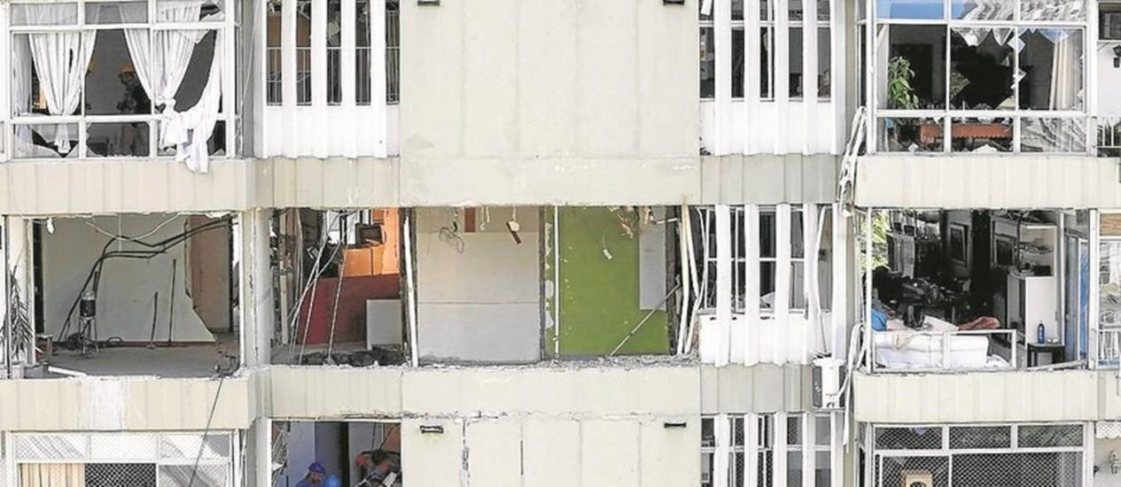 Os apartamentos afetados pela explosão provocada por um vazamento de gás, que deixou um morto Foto: Pablo Jacob