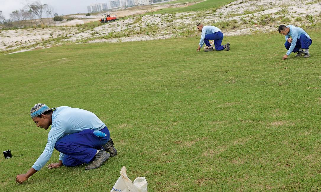 Funcionários preparam o terreno do novo campo de golfe, junho de 2015 Michael von Graffenried / Michael von Graffenried