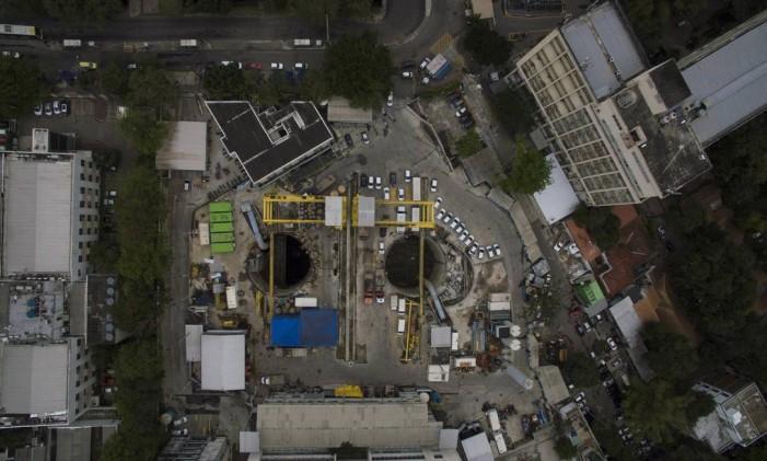 Vista da obra da estação da Gávea em 23/08/2016 Foto: Daniel Marenco / O Globo