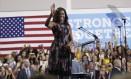 Michelle Obama é ovacionada em discurso em Fairfax Foto: Manuel Balce Ceneta / AP