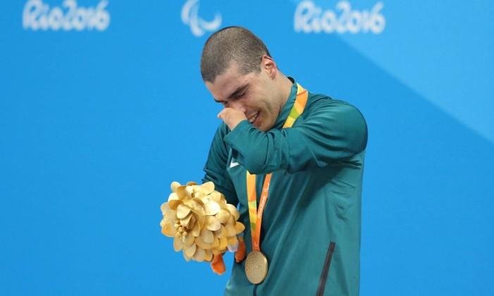 Final dos 100m nado livre, categoria S5. O brasileiro Daniel Dias venceu a prova e conquistou o ouro Foto: Márcio Alves / Agência O Globo