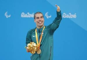 O brasileiro Daniel Dias comemora a vitória nos 100m livre Foto: Márcio Alves/Agência O Globo