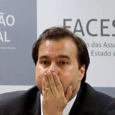 O presidente da Câmara dos Deputados, Rodrigo Maia, participa de encontro com empresarios na Associação Comercial de São Paulo Foto: Marcos Alves / Agência O Globo