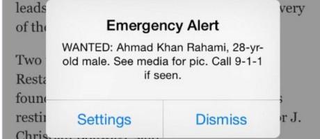 Alerta de emergência em Nova York mostra busca a Rahami Foto: Reprodução