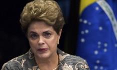 A ex-presidente Dilma Rousseff durante sessão de julgamento do impeachment no Senado Foto: Agência O Globo