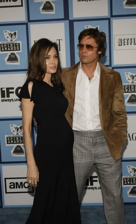 Angelina grávida de Vivienne, em 2008 Foto: Robyn Beck / AFP