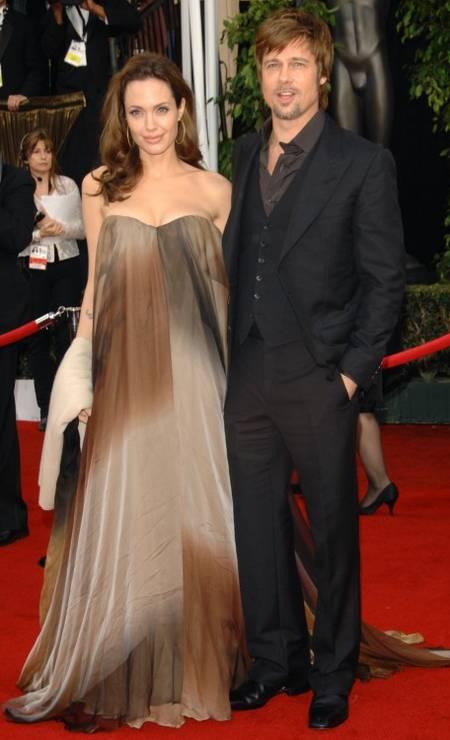 Angelina, numa das raras aparições sem combinar o look com o marido, no SAG de 2008 Foto: Evan Agostini / AP