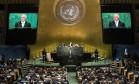 Michel Temer discursa na abertura da 71ª Assembleia Geral da ONU Foto: Drew Angerer / AFP