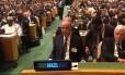 O ministro das Relações Exteriores, José Serra, acompanha o discurso do presidente Michel Temer na Assembleia Geral da ONU