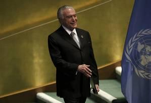 Michel Temer está em Nova York onde participa da 71ª Assembleia Geral da ONU Foto: Mike Segar / Reuters