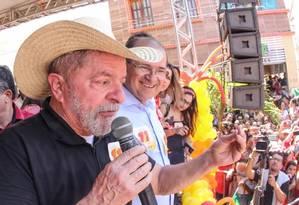 Lula discursa em palanque no Ceará Foto: Ricardo Stuckert/ Divulgação
