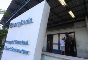 Hospital Albert Schweitzer, em Realengo, foi incorporado à rede municipal este ano Foto: Fabiano Rocha / Agência O Globo/10-01-2016