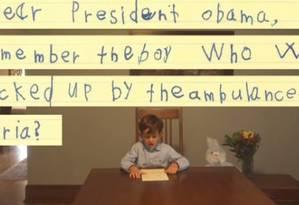 Carta de Alex foi divulgada pela Casa Branca Foto: Reprodução Facebook