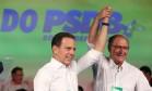 Ao lado Geraldo Alckmin, João Doria é confirmado a candidato de São Paulo na convenção municipal do PSDB Foto: Marcos Alves/24-7-2016