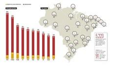 Mapa mostra candidaturas indeferidas ou canceladas pela Justiça Eleitoral Foto: Editoria de Arte