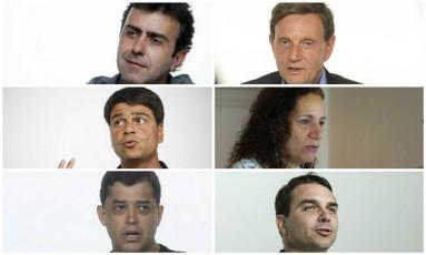 Os candidatos à prefeitura do Rio de Janeiro: Marcelo Freixo (PSOL), Marcelo Crivella (PRB), Pedro Paulo (PMDB), Jandira Feghali (PCdoB), Indio da Costa (PSD) e Flávio Bolsonaro (PSC) Foto: Montagem sobre fotos