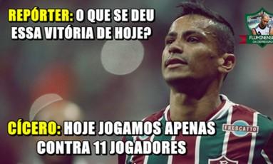Torcida tricolor brincou com o fato de o Corinthians não ter sido beneficiado pela arbitragem Foto: Reprodução