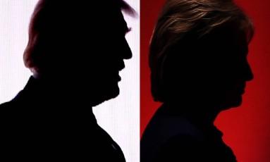 Silhuetas de Trump e Hillary Foto: DESK / AFP