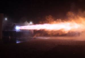 Elon Musk apresentou o motor de foguete Raptor em funcionamento Foto: REPRODUÇÃO/TWITTER