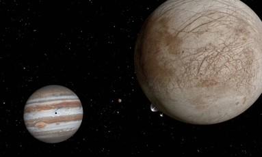 Ilustração mostra o que seria uma pluma de vapor d'água sendo expelida de Europa Foto: NASA