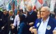 Sebastião Melo em campanha ao lado de José Fortunati, prefeito, Beto Albuquerque, José Fogaça, Pedro Simon, Juliana Brizola