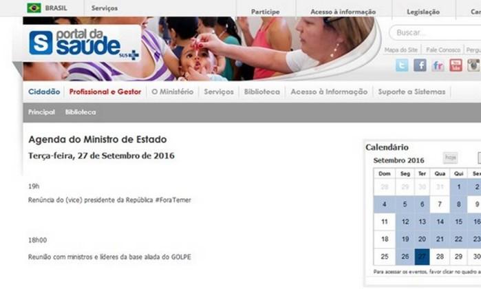 Ministério da Saúde afasta servidores por críticas a Temer em site oficial