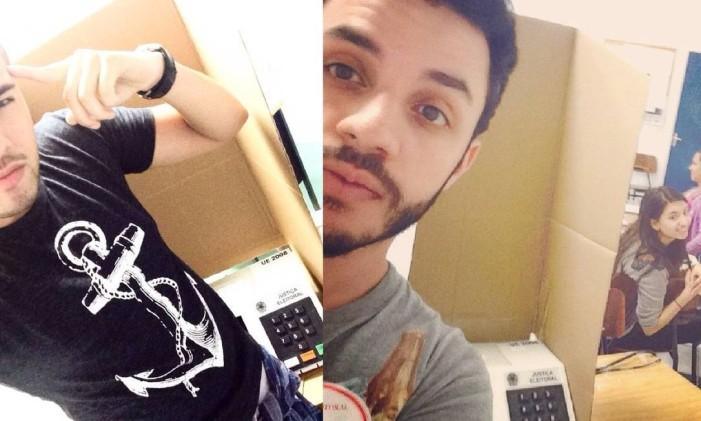 Eleitores fazem selfie na cabine de votação Foto: Reprodução