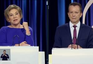 Os candidatos Marta Suplicy (PMDB) e Celso Russomanno (PRB) no debate do SBT Foto: Reprodução