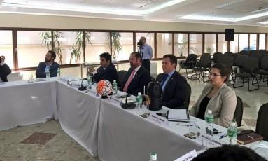 Reunião do Comitê Executivo da Conmebol em Assunção nesta terça-feira Foto: Reprodução / Twitter
