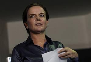 A senadora Gleisi Hoffmann (PT-PR) durante entrevista Foto: Givaldo Barbosa / Agência O Globo