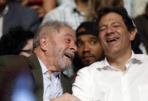 Lula e Haddad participam de Ato em Defesa da Cidade, dos Direitos Humanos e da Democracia na Casa de Portugal no bairro da Liberdade Foto: Agência O Globo