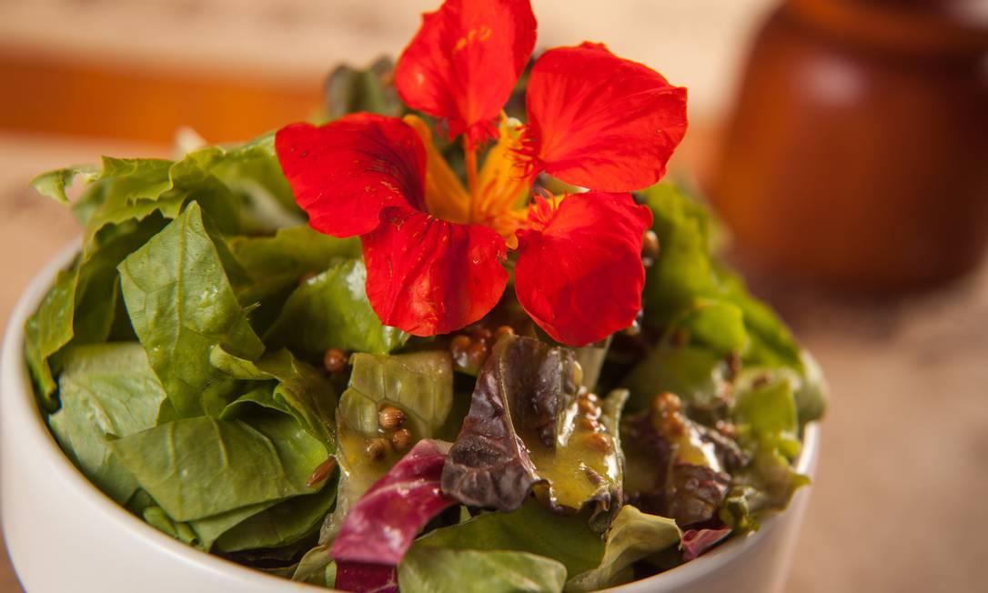 Leve. Salada verde com molho de mostarda, azeite com flores capuchinhas ou miniamores-perfeitos (R$ 9,90), na BioCarioca WagnerZiegelmeyer / Divulgação