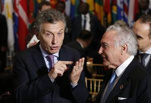 Maurício Macri e Michel Temer durante almoço na Assembleia Geral da ONU Foto: Lucas Jackson 20-09-16 / AP