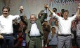 O ex-presidente Lula participa de um evento de campanha com o prefeito Fernando Haddad e o candidato a vice, Gabriel Chalita Foto: Edilson Dantas / Agência O Globo