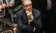 O ex-deputado Eduardo Cunha (PMDB-RJ) durante a sessão na Câmara que cassou seu mandato Foto: André Coelho / Agência O Globo / Arquivo / 12/09/2016