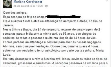 Denúncia na rede social: Mariana diz ter ouvido deboches e grosserias Foto: Reprodução / Internet