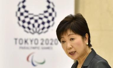 Governador de Tóquio, Yuriko Koike discursa no início da reunião Foto: KAZUHIRO NOGI / AFP