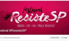 Evento do festival #ResisteSP no Facebook Foto: Reprodução