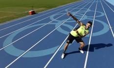 Atacante Pimpão imita gesto do jamaicano Usain Bolt, no retorno do Botafogo ao Engenhão Foto: Vítor Silva/SSPress/BFR!